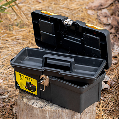 STANLEY<sup>&reg;</sup> Tool Box with Tray - This 16&quot; tool box is ideal for storing and organizing your tools. Features include two lid organizers for small parts storage, built-in pad lock for small locks, full length tote tray inside to store smaller items, wide rubber coated handle for easy and comfortable grip, and nickel metal-plated latches.  Measures 16&quot; X 8&quot; X 7&quot;.